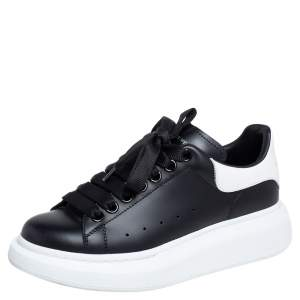 Alexander McQueen Black/White Leather Oversized Sneakers Size 35