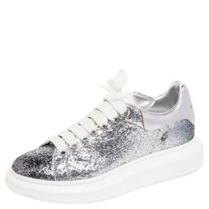 Alexander McQueen White/Silver Glitter And Leather Low Top Sneakers Size 40