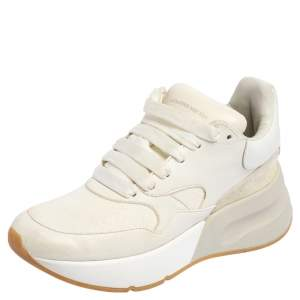 Alexander McQueen White Leather And Mesh Oversized Runner Low Top Sneakers Size 36