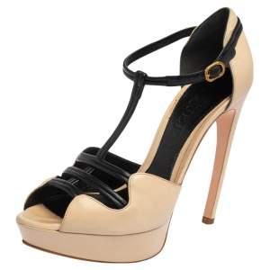 Alexander McQueen Beige/Black Leather Platform T Strap  Sandals Size 36.5