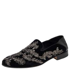 Alexander McQueen Black Velvet And Leather Embroidered Detail Loafers Size 42