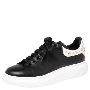 Alexander McQueen Black/White Leather Oversized Studded Sneakers Size 42