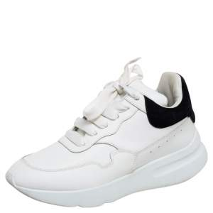 Alexander McQueen White Leather Larry Oversized Sneakers Size 38.5