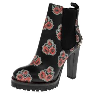 Alexander McQueen Black/Red Floral Print Leather Poppy Ankle Boots Size 36
