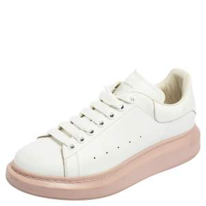 Alexander McQueen White/Pink Leather Oversized Sneakers Size 40