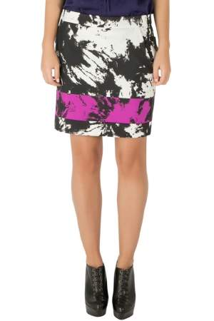 Alexander Wang Multicolor Abstract Print Grosgrain Detail Mini Skirt S