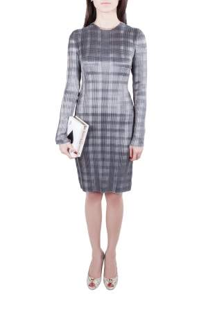 Alexander Wang Erosion Grey Pleated Twill Satin Raw Edged Sheath Dress S