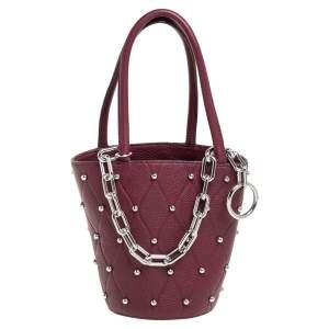Alexander Wang Burgundy Leather Mini Roxy Studded Bucket Bag