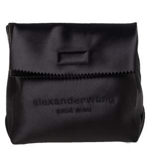 Alexander Wang Black Satin Lunch Clutch