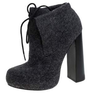 Alexander Wang Grey Wool Blend Lace Up Platform Booties Size 36