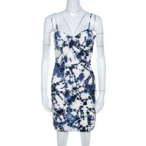Alexander Wang White and Blue Tie-Dye Leather Sleeveless Bustier Dress XS