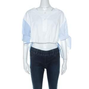Alexander Wang Bleach White Cotton Contrast Sleeve Detail Henley Crop Top M