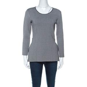 Alexander Wang Black & White Houndstooth Slit Detail Three Quarter Sleeve Top M