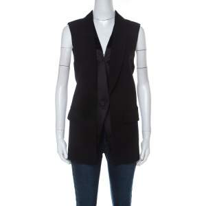 Alexander Wang Black Wool Blend Satin Detail Sleeveless Jacket M