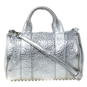 Alexander Wang Silver Pebbled Leather Rocco Duffel Bag