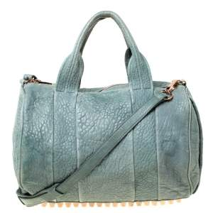 Alexander Wang Light Green Pebbled Leather Rocco Duffel Bag