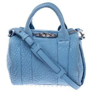 Alexander Wang Sky Blue Textured Leather Rocco Duffel Bag