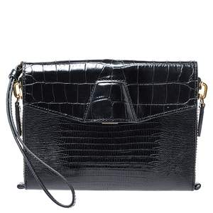 Alexander Wang Black Croc Embossed Leather Lydia Wristlet Clutch