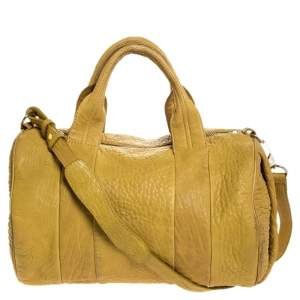 Alexander Wang Mustard Pebbled Leather Rocco Duffel Bag