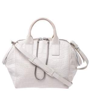 Alexander Wang White Crocodile Embossed Leather Jamie Satchel