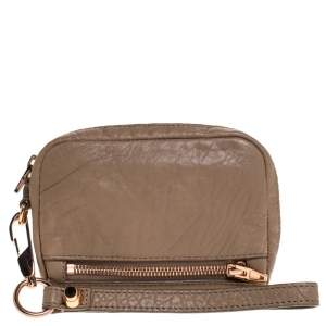 Alexander Wang Beige Leather Fumo  Wristlet Clutch