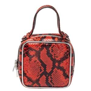 Alexander Wang Orange/Black Python Effect Leather Halo Box Bag