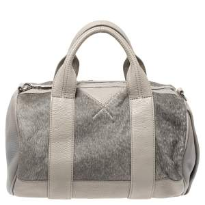 Alexander Wang Grey Ponyhair and Leather Rocco Duffel Bag