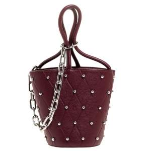 Alexander Wang Burgundy Leather Mini Roxy Studded Bucket Bag