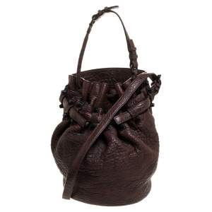 Alexander Wang Dark Brown Textured Leather Diego Bucket Bag