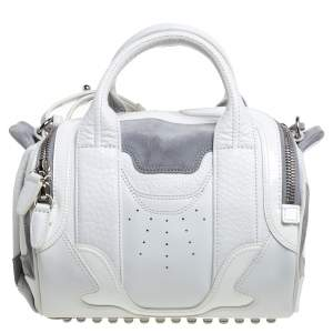 Alexander Wang White Leather and Suede Small Rockie Sneaker Satchel