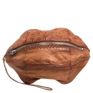 Alexander Wang Brown Leather Brady Football Clutch