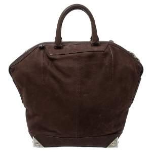 Alexander Wang Dark Brown Nubuck Leather Emile Satchel