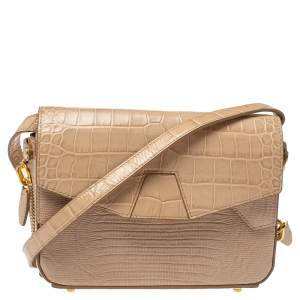 Alexander Wang Beige Croc and Lizard Embossed Leather Devere Tri Fold Bag