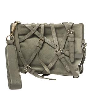 Alexander Wang Pale Green Suede and Leather Kirsten Belted Clutch