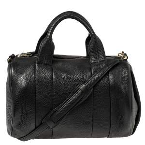 Alexander Wang Black Textured Leather Rocco Duffel Bag