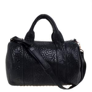 Alexander Wang Black Pebbled Leather Rocco Duffle Bag