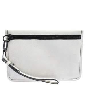 Alexander Wang White Leather Slim Wristlet Clutch