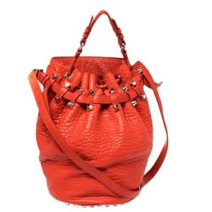 Alexander Wang Orange Textured Leather Diego Bucket Bag