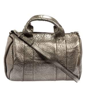 Alexander Wang Metallic Grey Pebbled Leather Rocco Duffle Bag