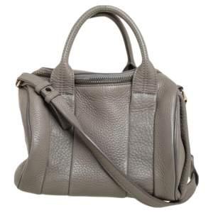 Alexander Wang Grey Textured Leather Rocco Duffel Bag