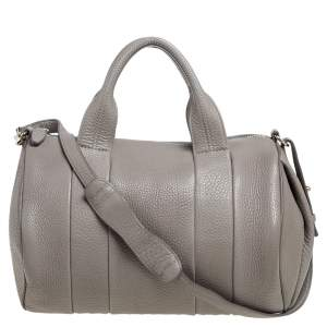 Alexander Wang Grey Pebbled Leather Rocco Duffle Bag