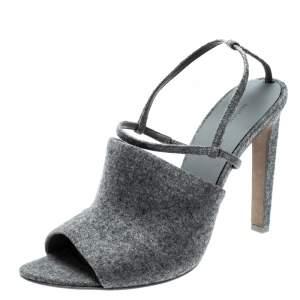 Alexander Wang Grey Wool Fabric Maryna Peep Toe Slingback Sandals Size 39.5