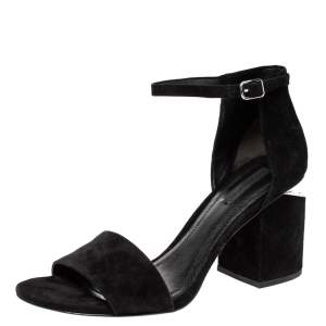 Alexander Wang Black Suede Leather Abbey Block Heel Ankle Strap Sandals Size 40