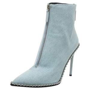 Alexander Wang Light Blue Wash Denim Eri Studded Pointed Toe Ankle Boots Size 40