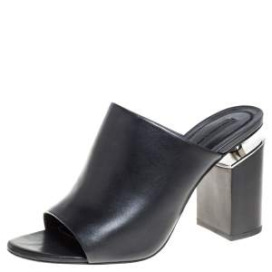 Alexander Wang Black Leather Mules Size 39