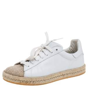 Alexander Wang White Leather And Jute Cap Toe Espadrilles Low Top Sneakers Size 37