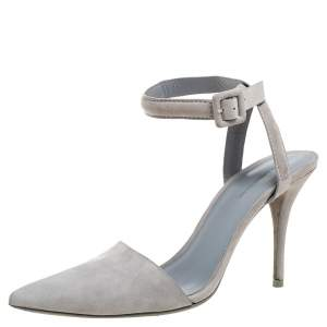 Alexander Wang Grey Suede Leather Lovisa Ankle Wrap Sandals Size 38.5