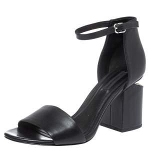 Alexander Wang Black Leather Block Heel Abby Sandals Size 37