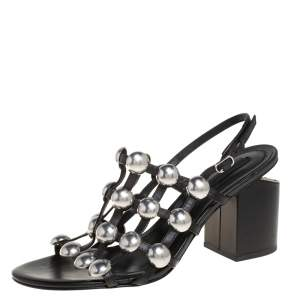 Alexander Wang Black Leather Dome Studded Nadia Sandals Size 41