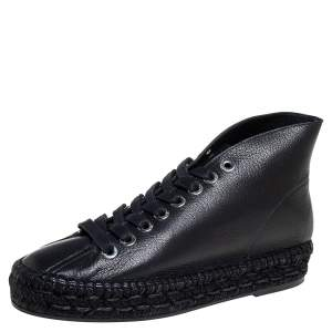 Alexander Wang Black Leather Espadrille Sneakers Size 38